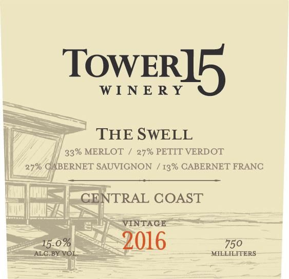 Tower 15 The Swell Red Blend 2016  Front Label