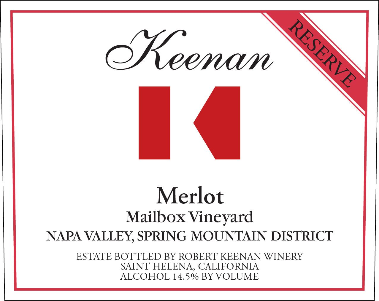 Keenan Mailbox Vineyard Spring Mountain Reserve Merlot 2016  Front Label