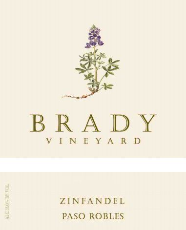 Brady Vineyard Zinfandel 2016 Front Label