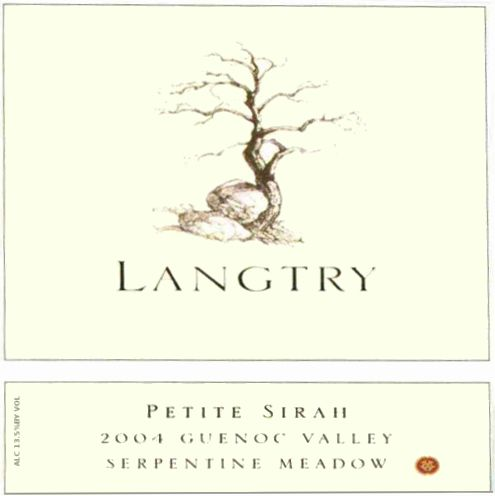 Langtry Estate Seprentine Meadow Petite Sirah 2004 Front Label