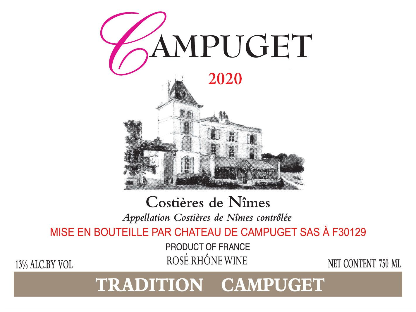 Chateau de Campuget Tradition Rose 2020  Front Label