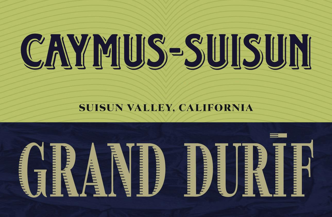 Caymus Suisun Grand Durif 2018  Front Label