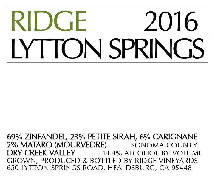 Ridge Lytton Springs 2016 Front Label