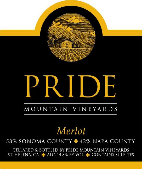 Pride Mountain Vineyards Merlot 2016 Front Label