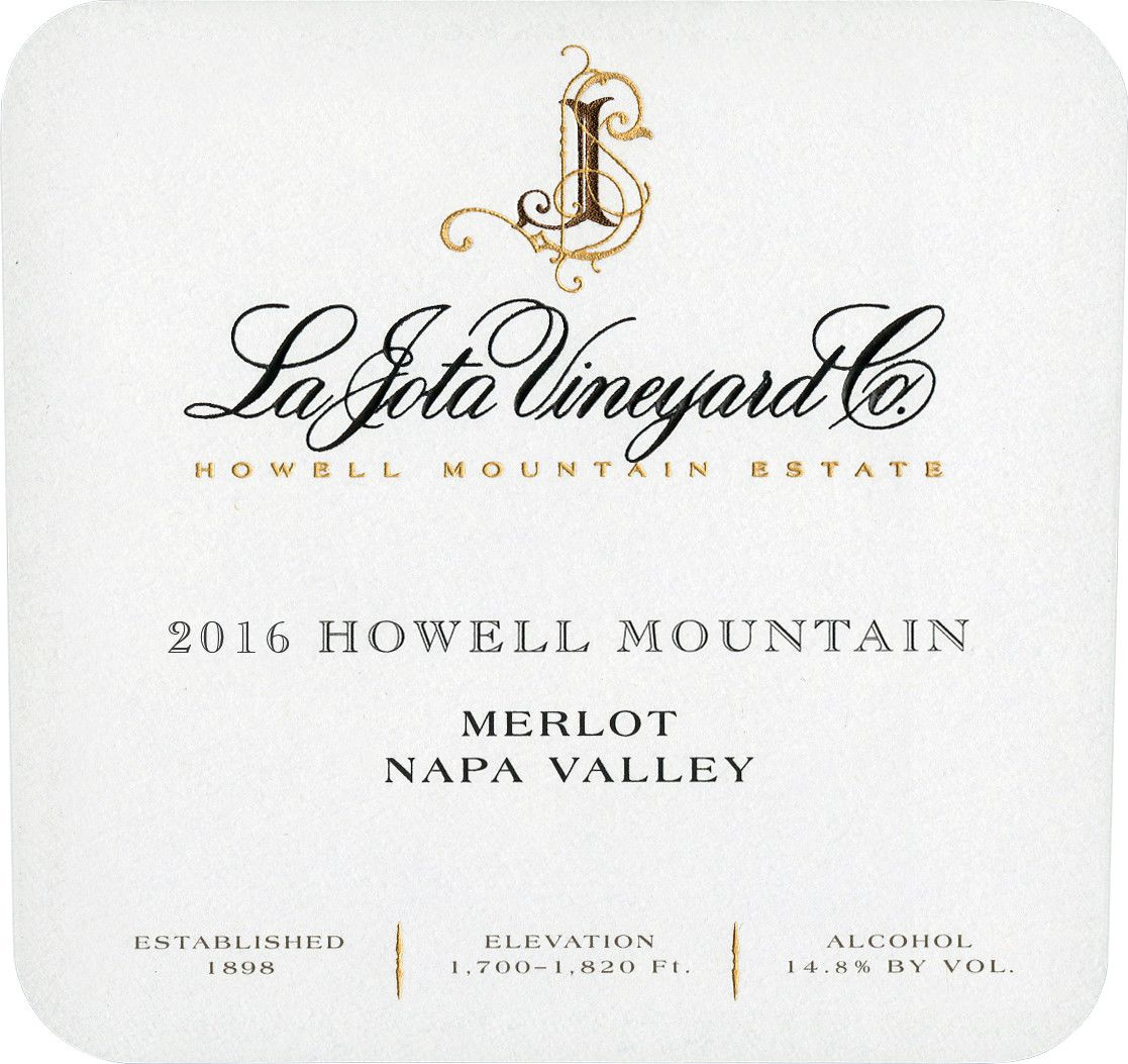 La Jota Howell Mountain Merlot 2016  Front Label