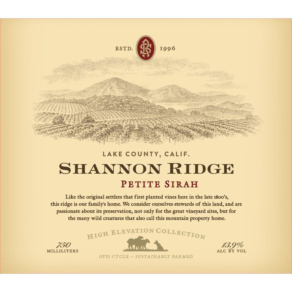 Shannon Ridge High Elevation Petite Sirah 2018  Front Label