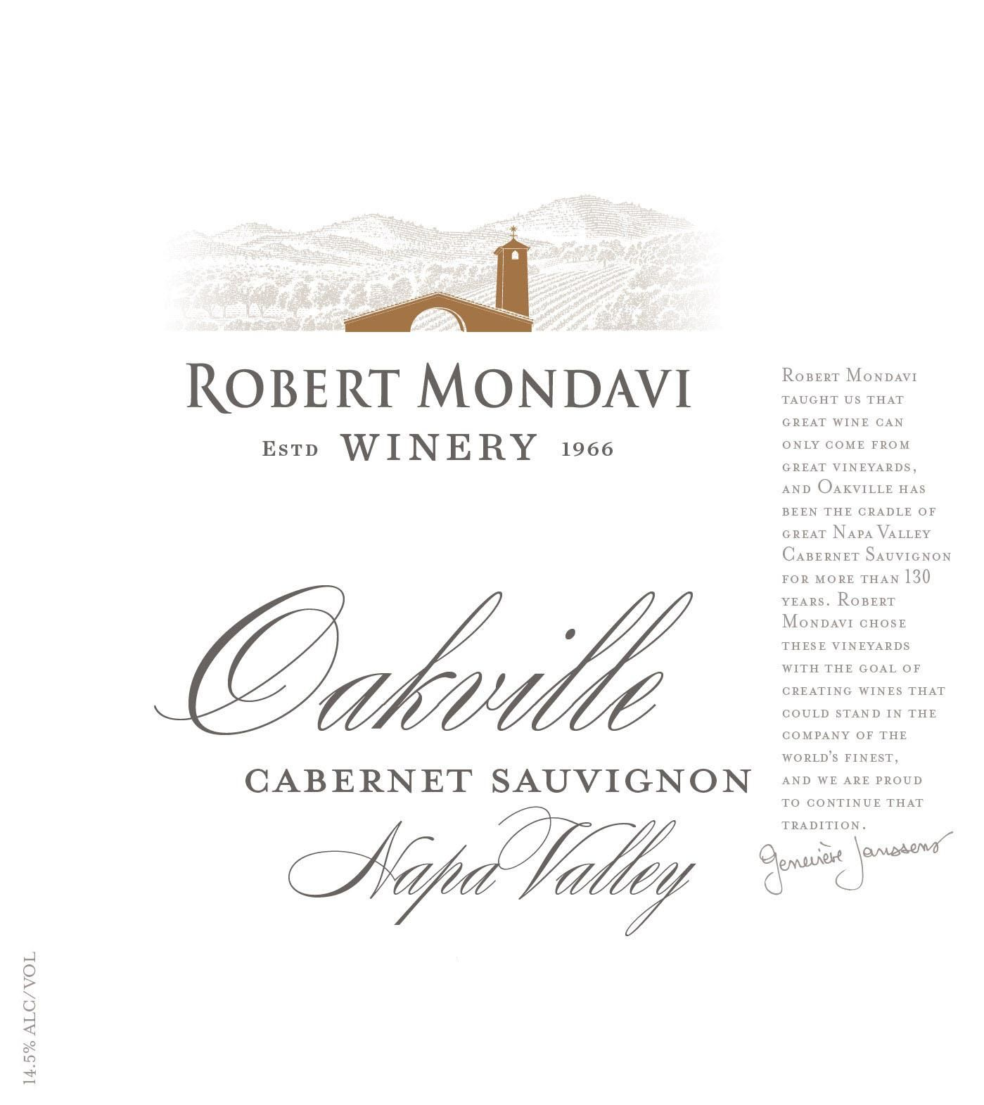 Robert Mondavi Oakville District Cabernet Sauvignon 2015 Front Label