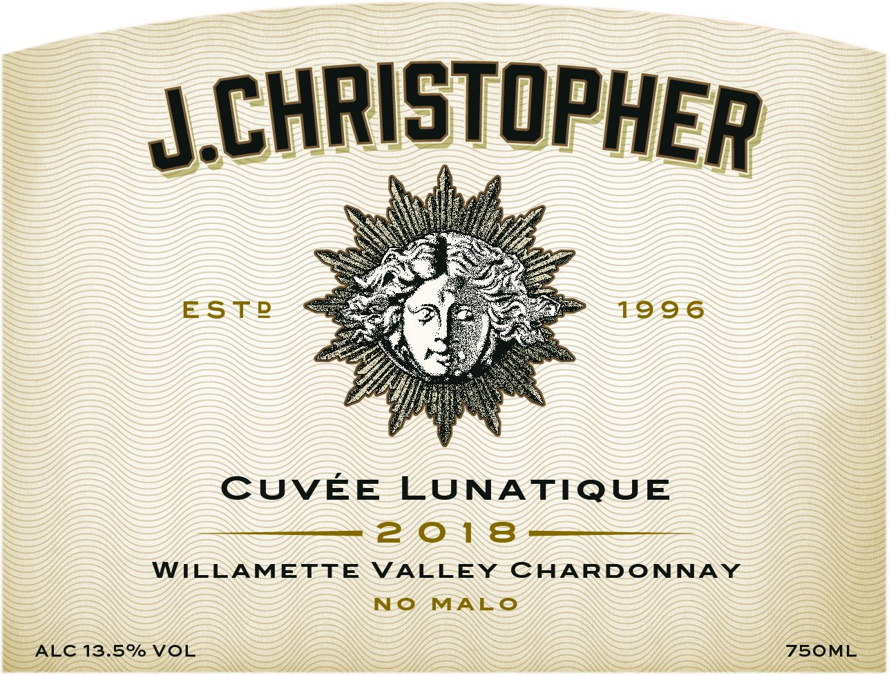 J. Christopher Willamette Valley Cuvee Lunatique Chardonnay 2018  Front Label