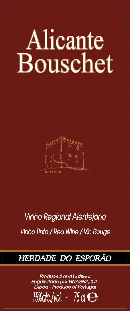 Herdade Do Esporao Alicante Bouschet 2003  Front Label