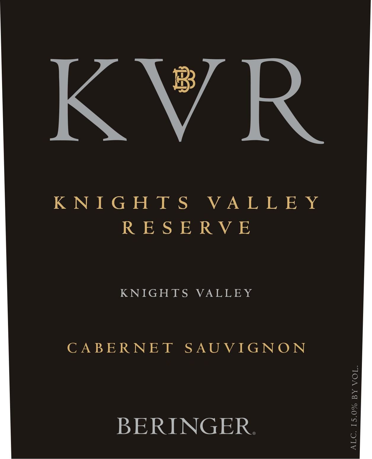 Beringer Knights Valley Reserve Cabernet Sauvignon 2015 Front Label