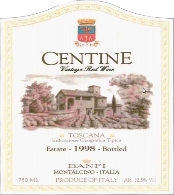 Banfi Centine Toscana 1998  Front Label
