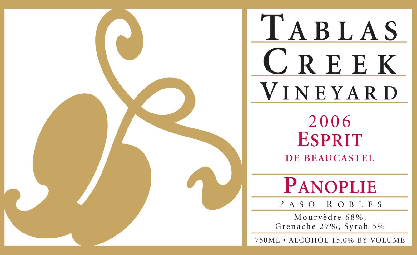 Tablas Creek Esprit de Beaucastel Panoplie 2006  Front Label