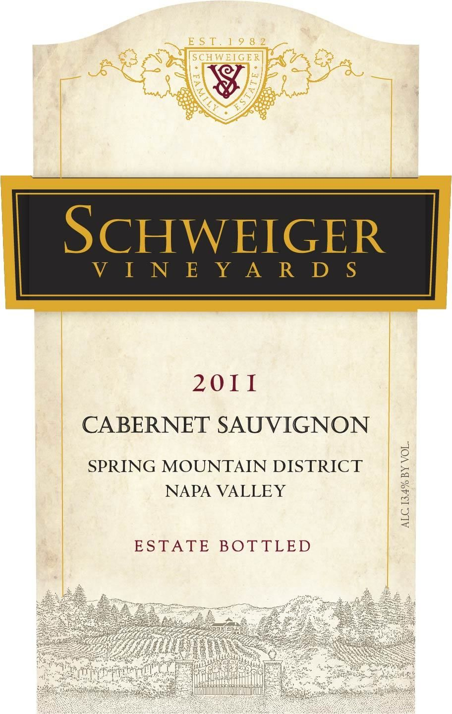 Schweiger Vineyards Spring Mountain District Cabernet Sauvignon 2011 Front Label