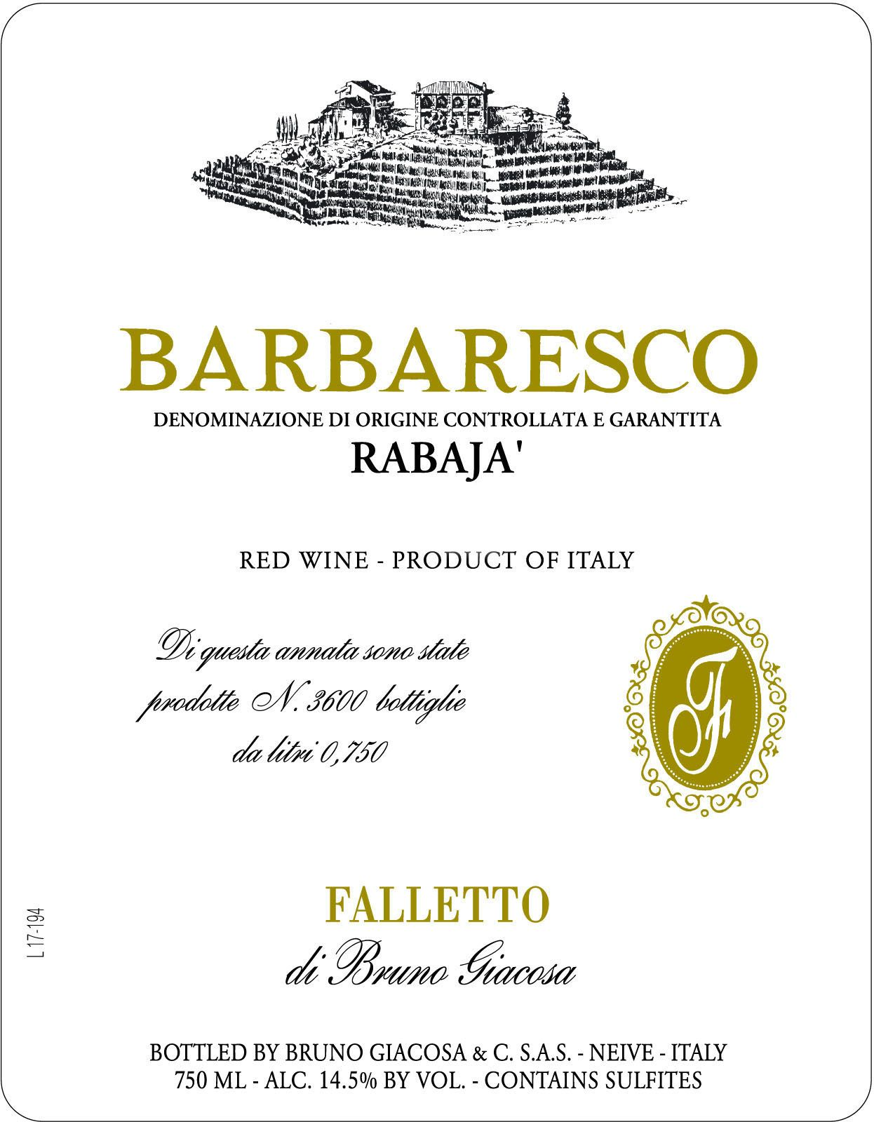 Bruno Giacosa Barbaresco Rabaja 2017  Front Label