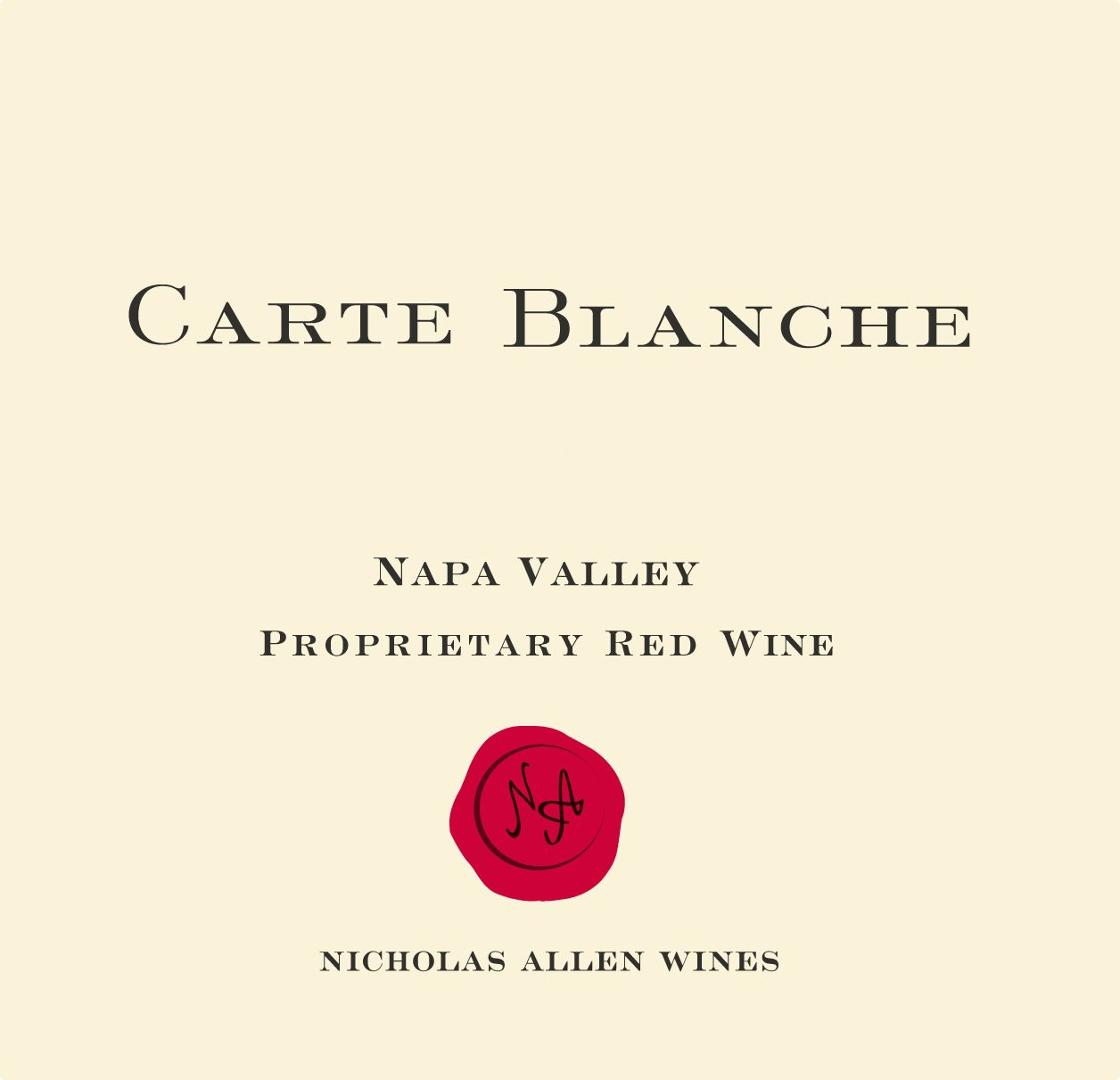 Carte Blanche Proprietary Red 2016  Front Label