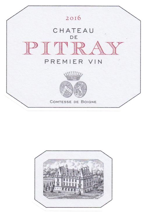 Chateau Pitray (375ML half-bottle) 2016  Front Label