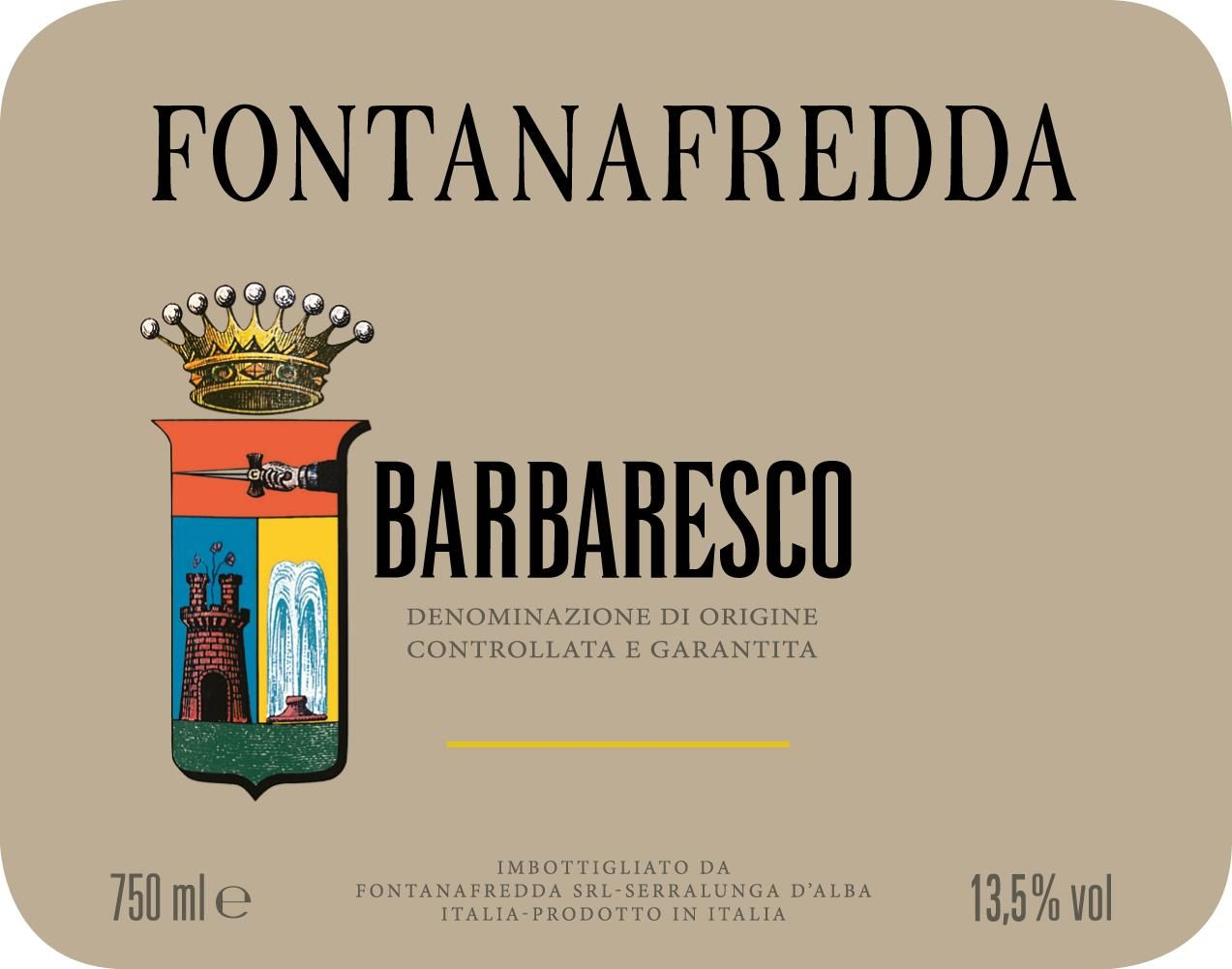 Fontanafredda Silver Label Barbaresco 2015  Front Label