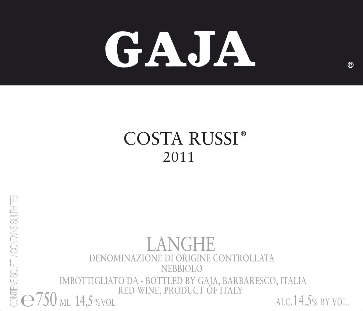 Gaja Costa Russi 2011 Front Label