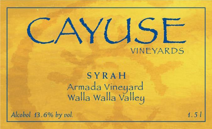 Cayuse Armada Syrah (slightly torn label) 2006  Front Label