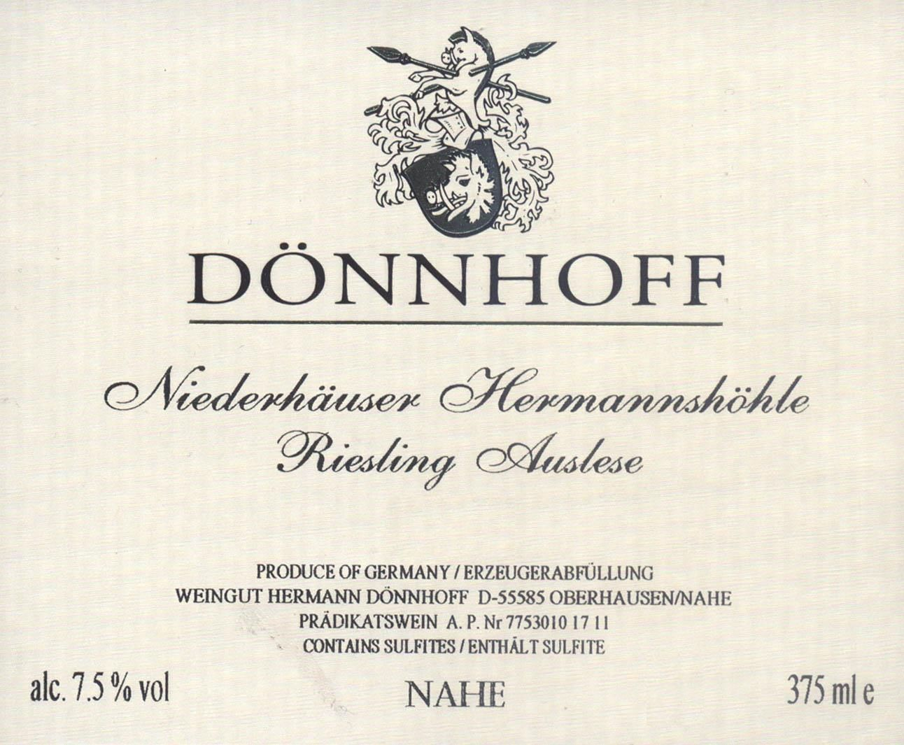 Donnhoff Niederhauser Hermannshohle Auslese Goldkapsel (375ML Half-bottle) 2018  Front Label