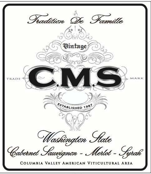 Hedges Family Estate CMS Red Blend 2016  Front Label