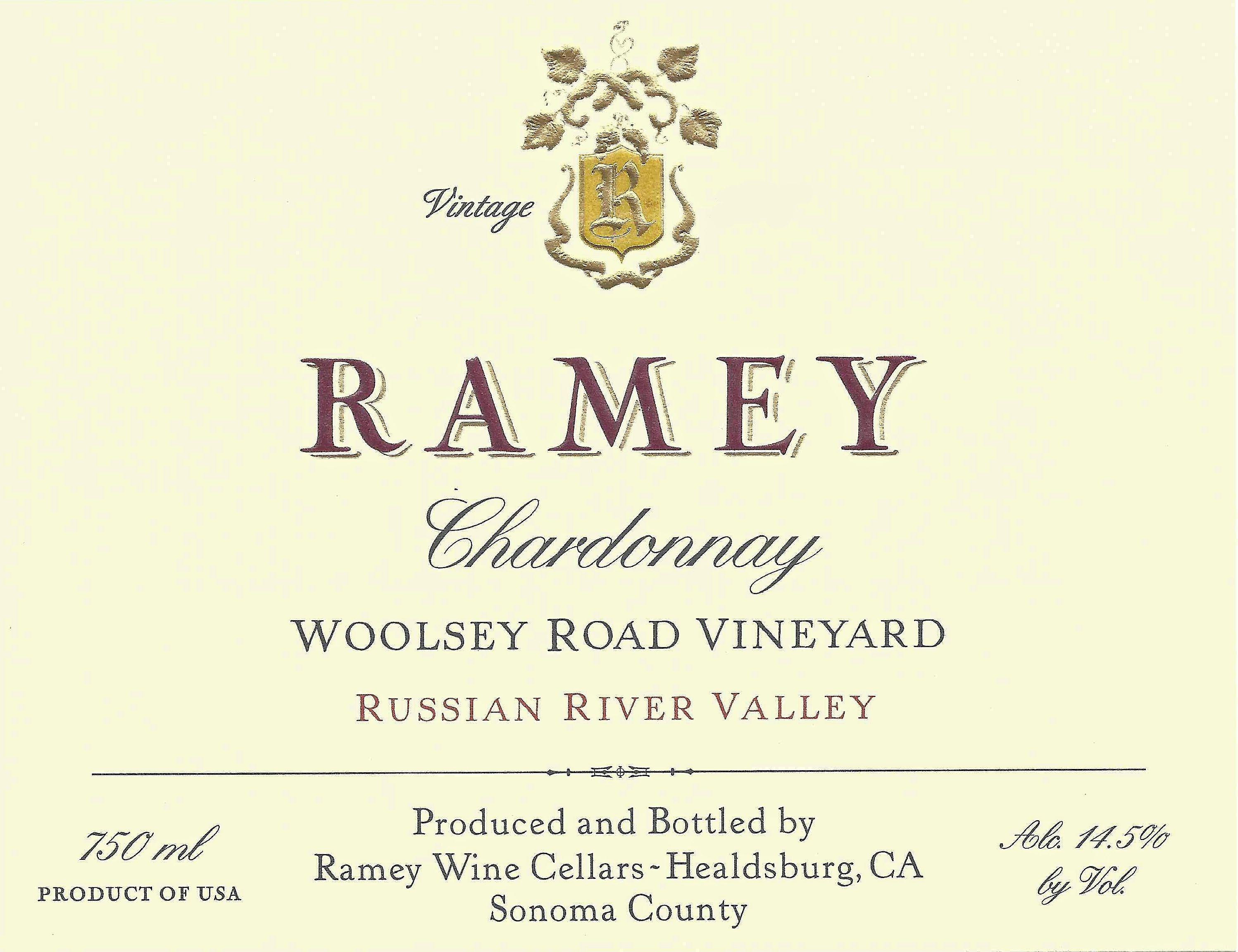 Ramey Woolsey Road Vineyard Chardonnay 2015  Front Label
