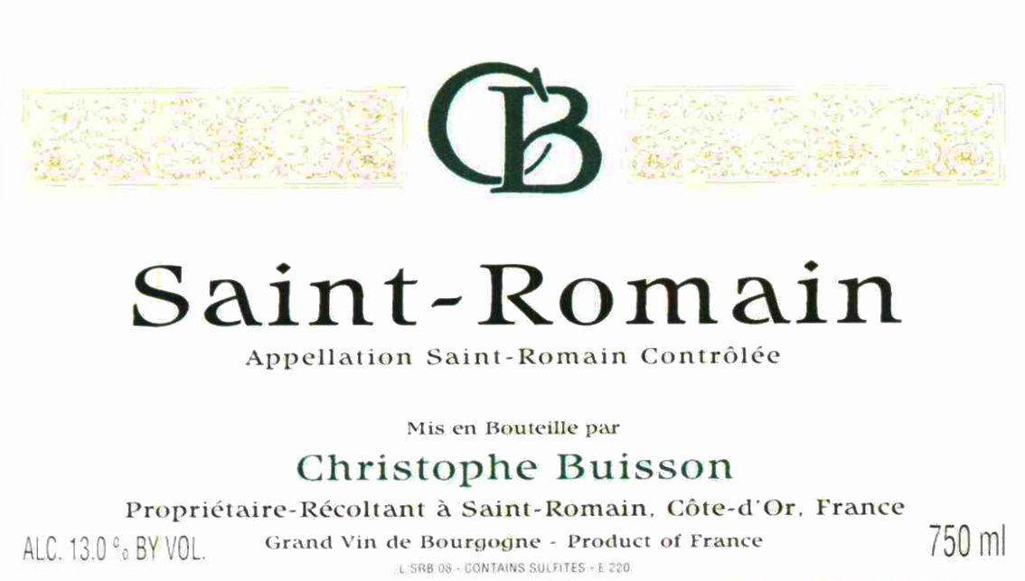 Christophe Buisson Saint-Romain Blanc 2012  Front Label
