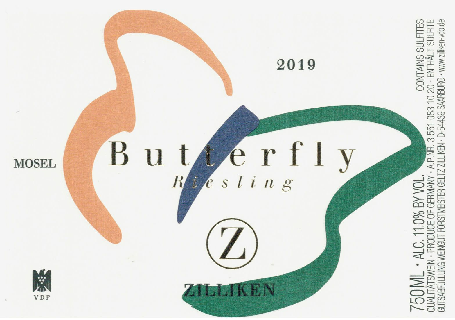 Zilliken Butterfly Riesling 2019  Front Label