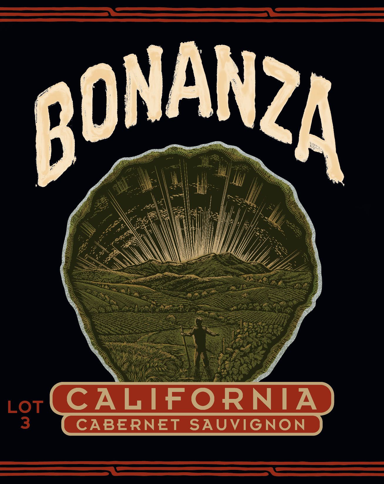 Bonanza by Chuck Wagner California Cabernet Sauvignon Lot 3  Front Label
