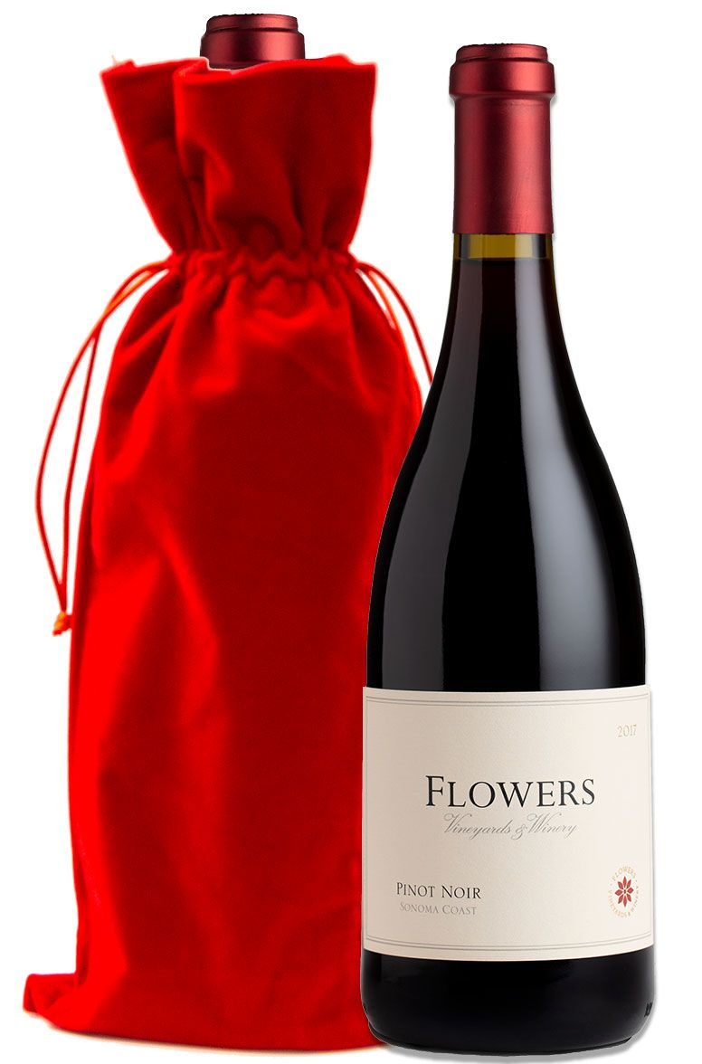 wine.com Flowers Sonoma Coast Pinot Noir with Red Velvet Gift Bag  Gift Product Image