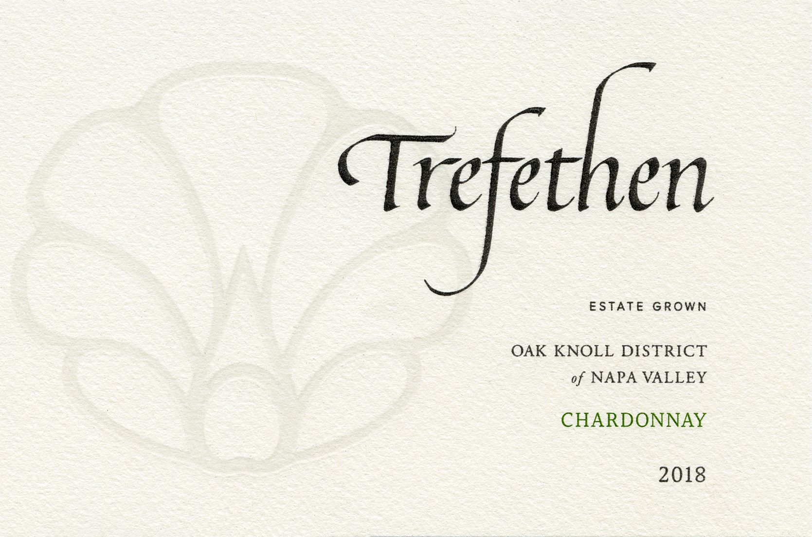 Trefethen Estate Chardonnay 2018  Front Label