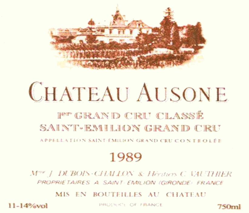 Chateau Ausone (scuffed labels) 1989  Front Label