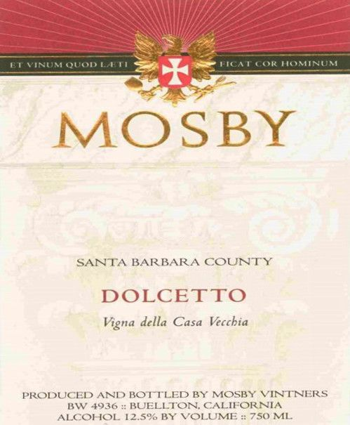 Mosby Dolcetto 2004  Front Label