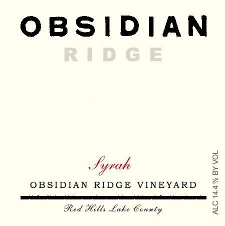 Tricycle Wine Company Obsidian Ridge Syrah 2014 Front Label