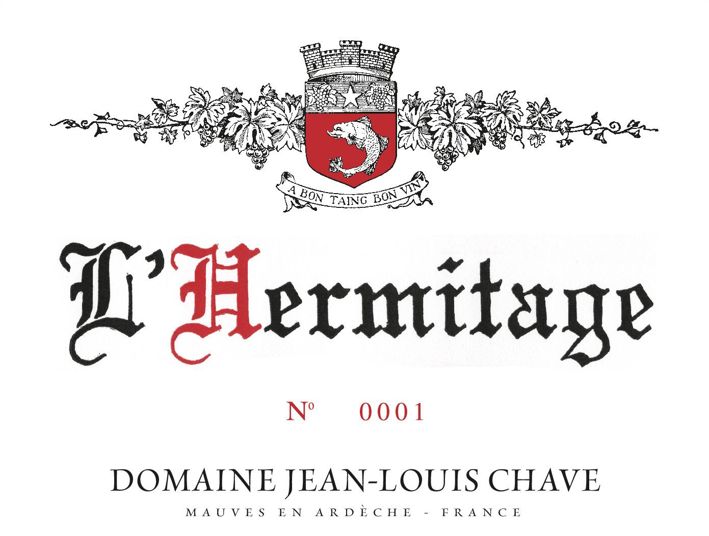 Jean-Louis Chave Hermitage 2010  Front Label