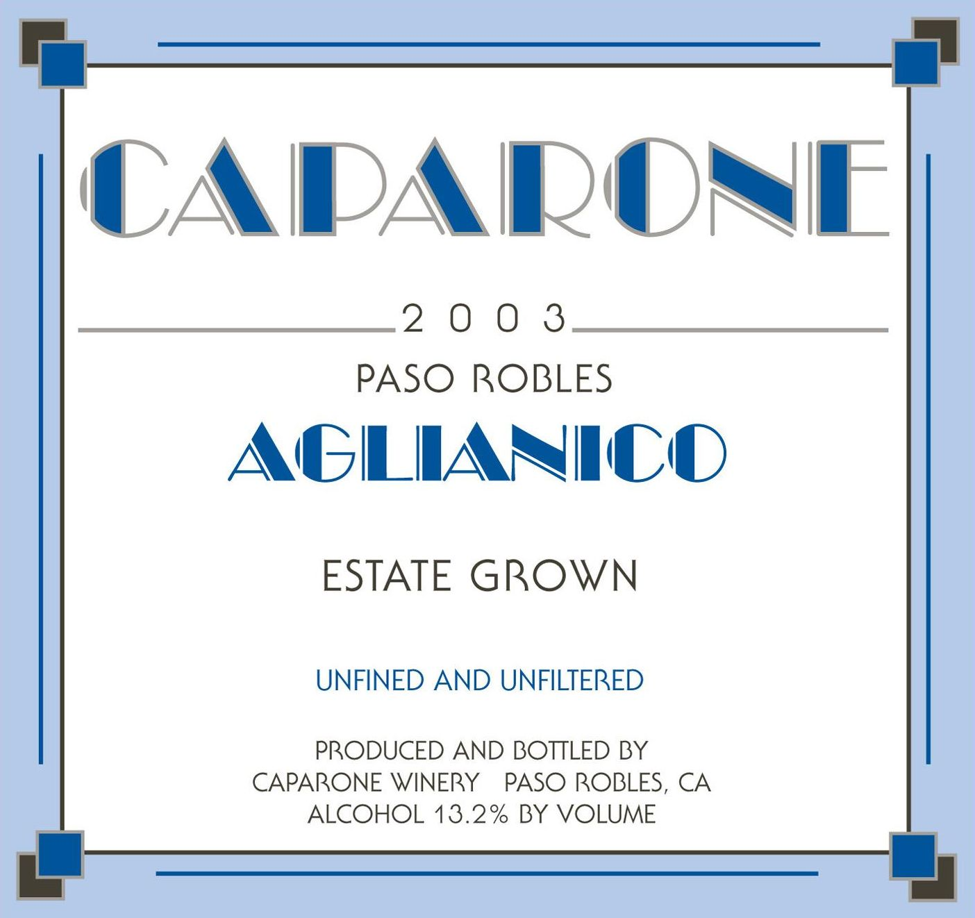 Caparone Winery Aglianico 2003 Front Label