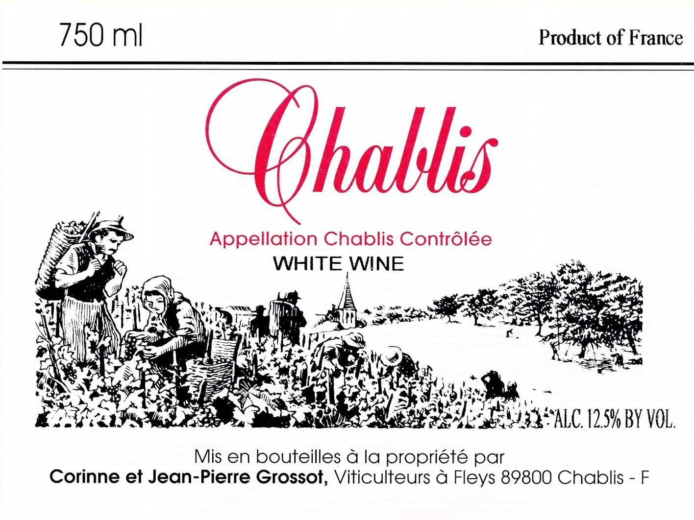 Grossot Chablis 2016 Front Label