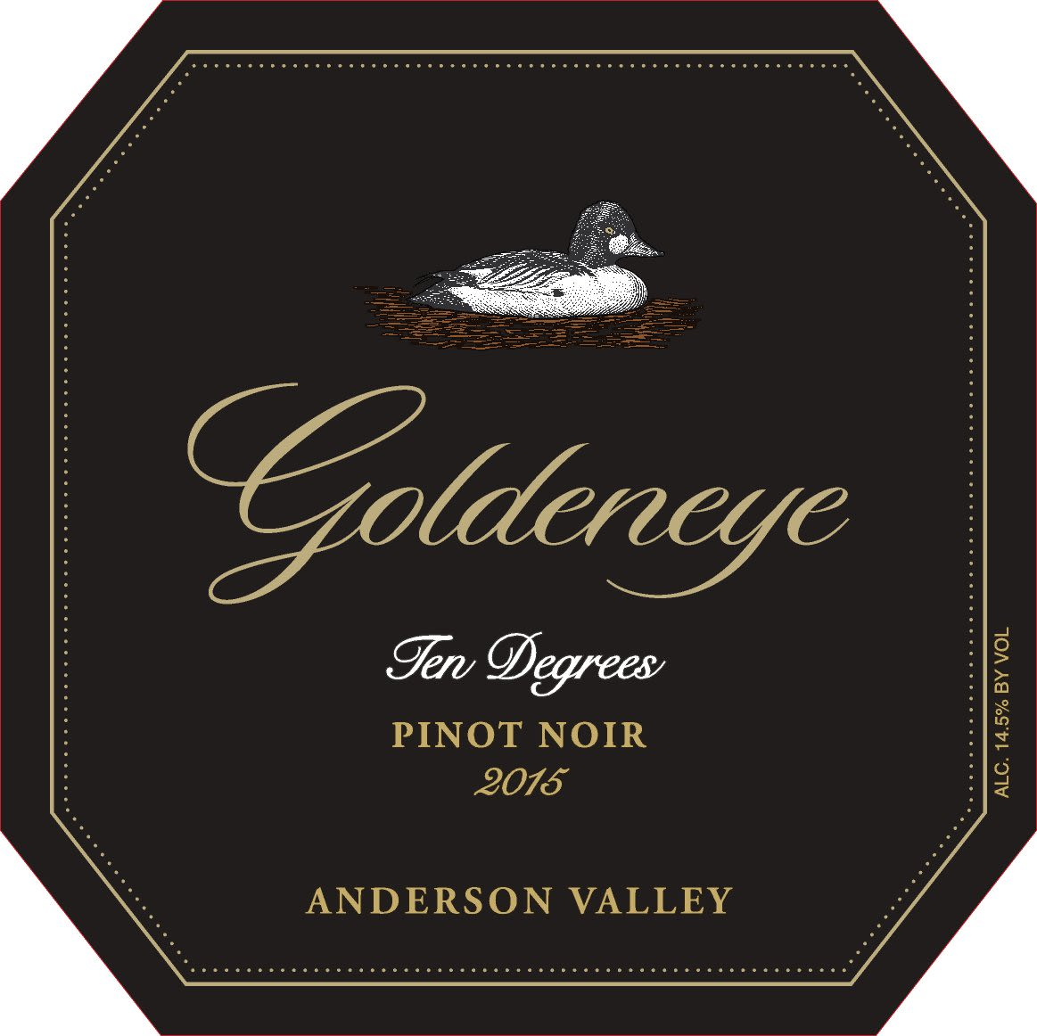 Goldeneye Ten Degrees Anderson Valley Pinot Noir 2015  Front Label