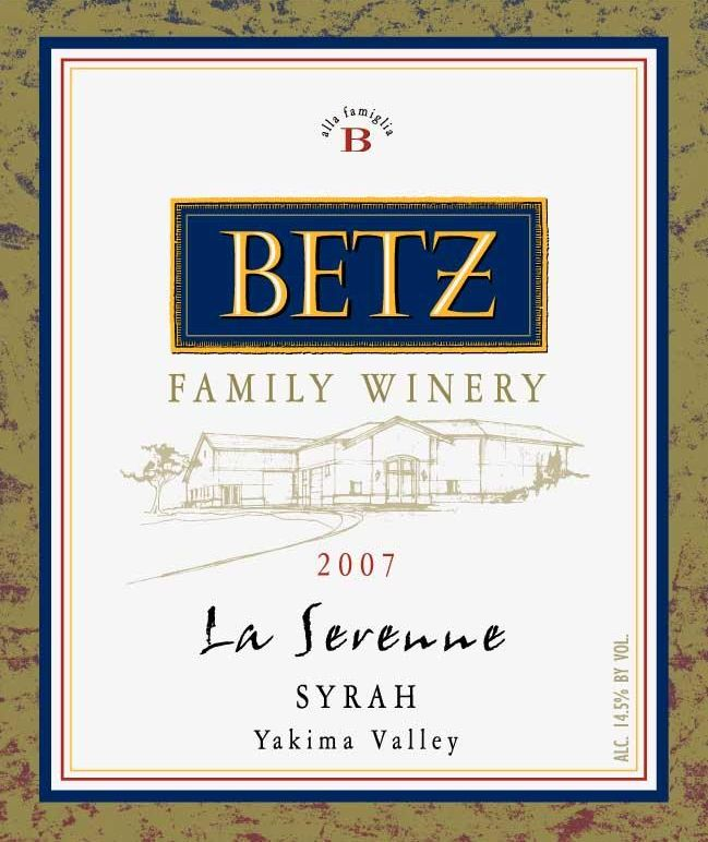 Betz Family Winery La Serenne Syrah 2007 Front Label