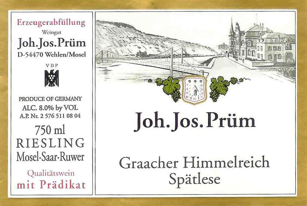 J.J. Prum Graacher Himmelreich Spatlese Riesling 2018  Front Label