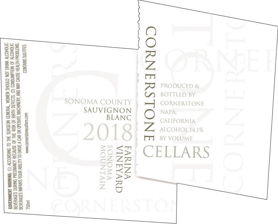 Cornerstone Cellars Farina Vineyard Sauvignon Blanc 2018  Front Label