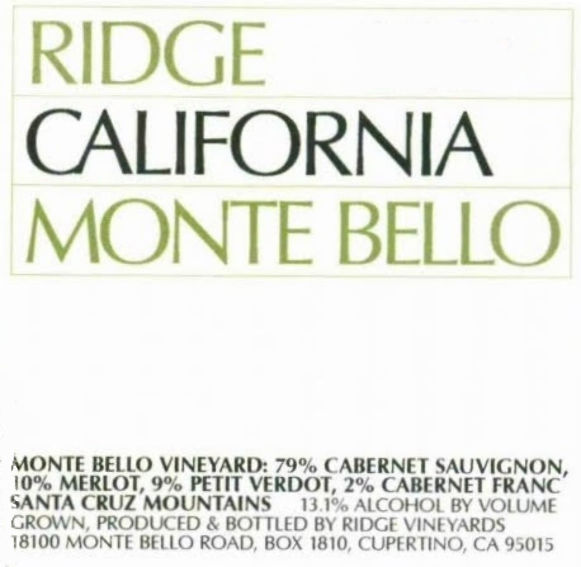 Ridge Monte Bello 1999  Front Label
