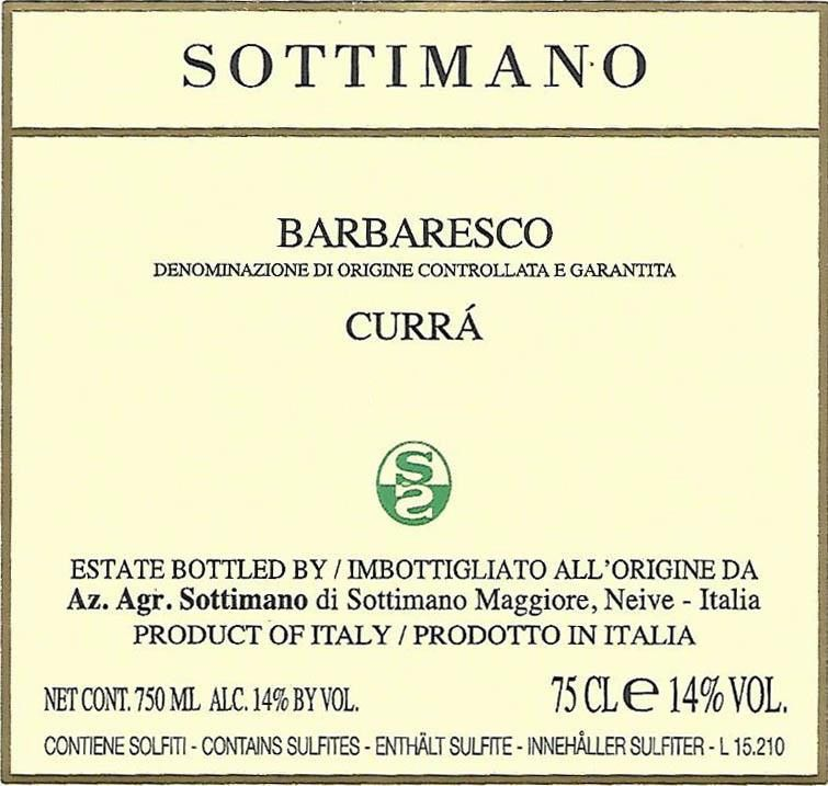 Sottimano Barbaresco Curra 2014 Front Label