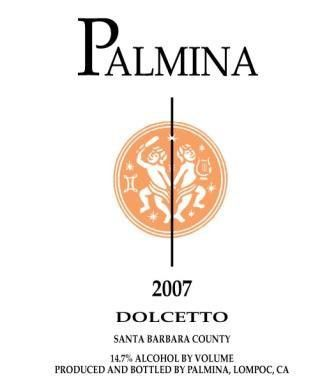 Palmina Dolcetto 2007  Front Label