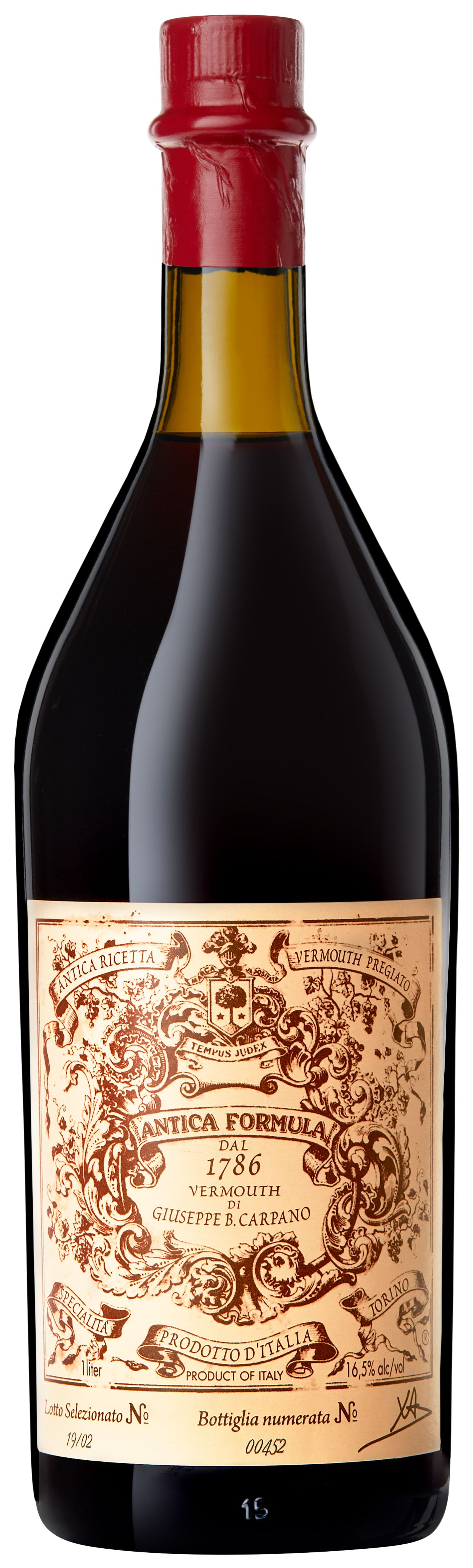 Carpano Antica Formula Sweet Vermouth (1 Liter)  Front Bottle Shot