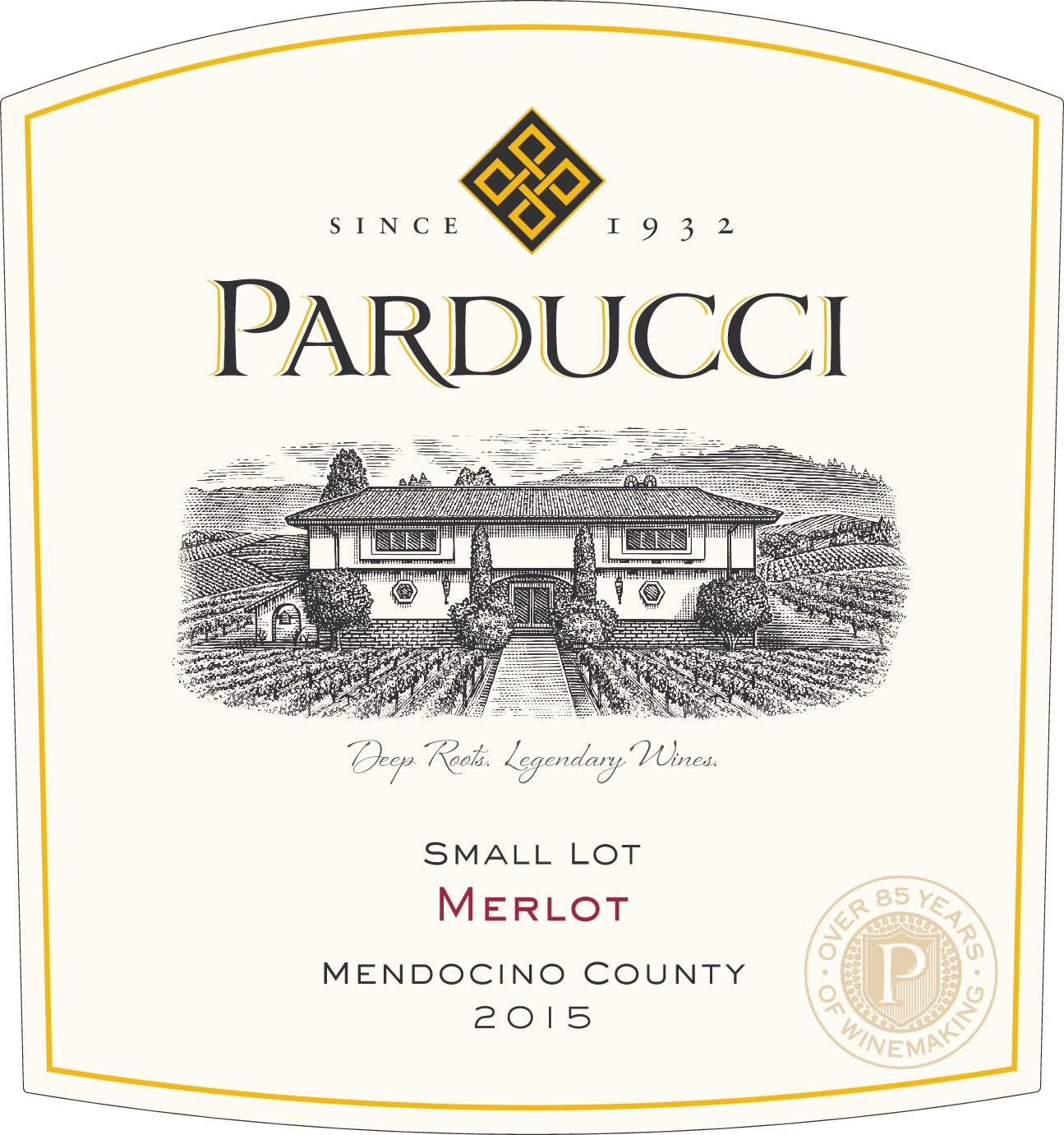 Parducci Small Lot Merlot 2015  Front Label