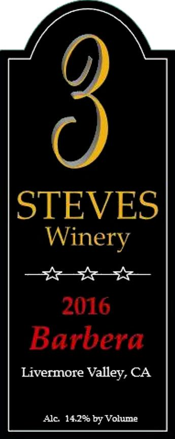 3 Steves Winery  2016  Front Label
