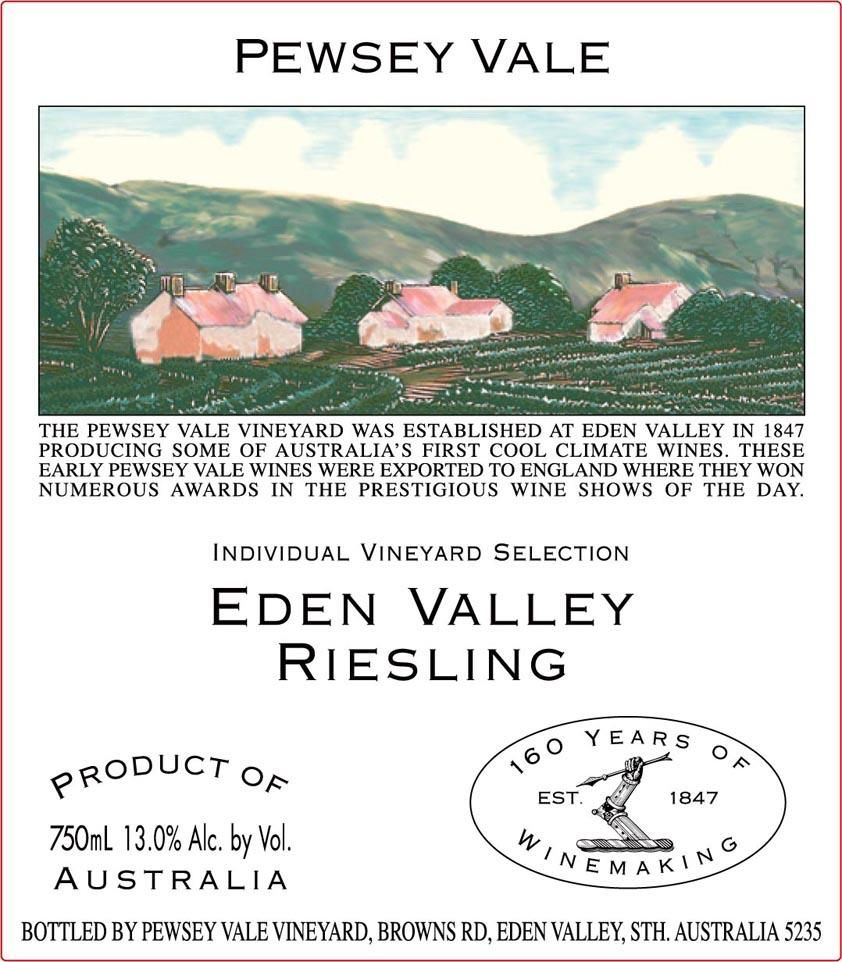 Pewsey Vale Eden Valley Riesling 2019  Front Label