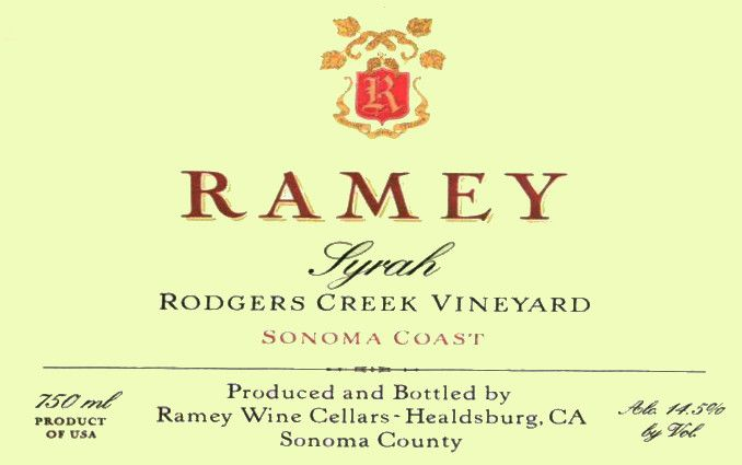 Ramey Rodgers Creek Vineyard Syrah 2014 Front Label