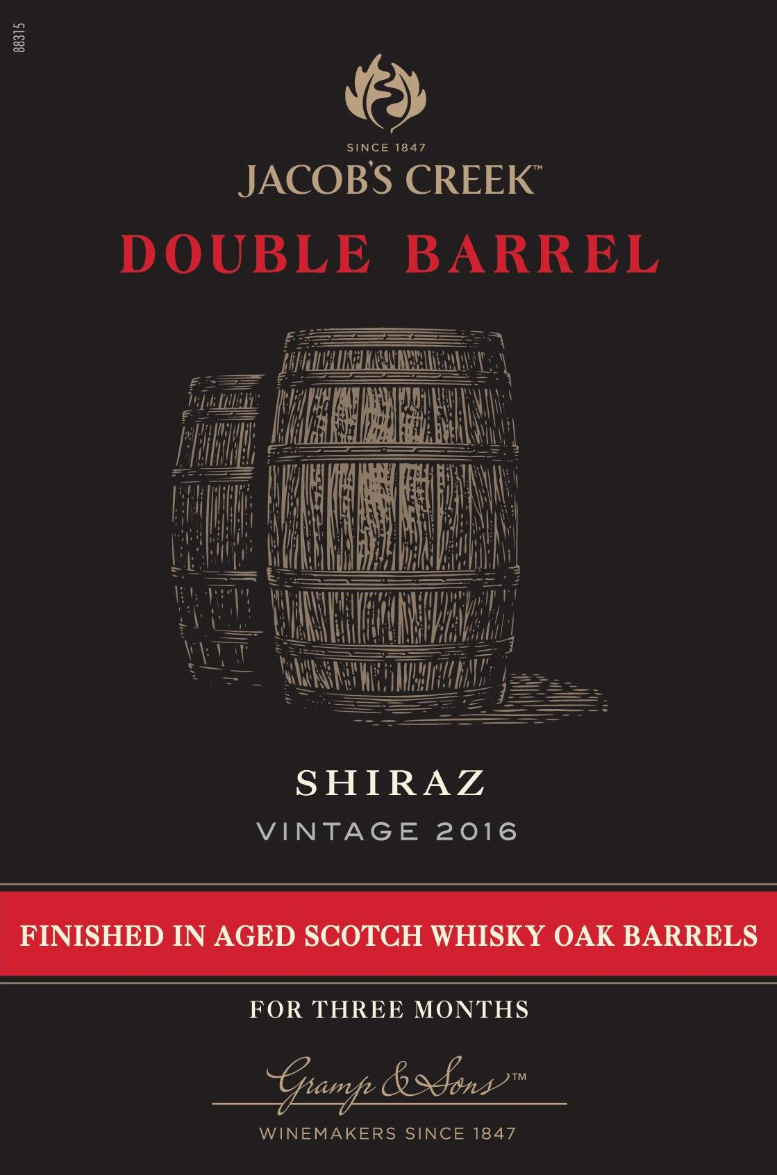 Jacob's Creek Double Barrel Shiraz 2016  Front Label